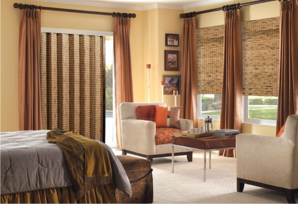 Woven Wood Folding Panel Blinds, Folding Door Blinds